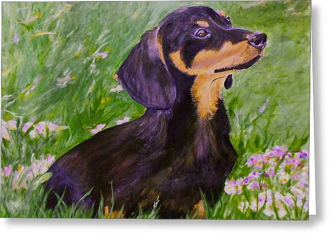 Daisy In Clover Greeting Card by Maureen Pisano