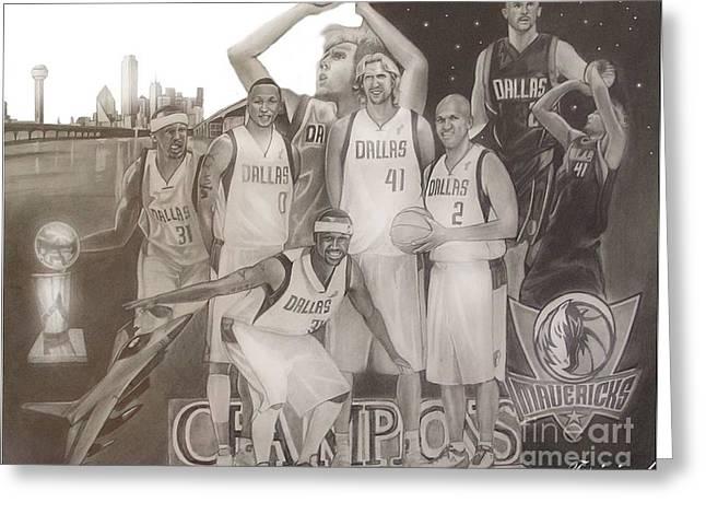 Dallas Mavericks Champs Greeting Card by Teriginal Washington