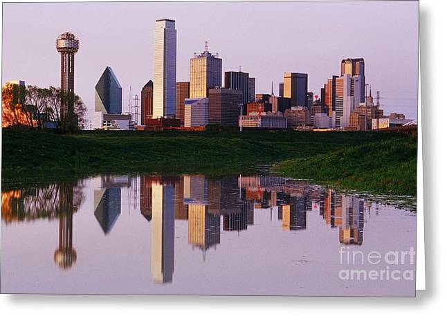 Dallas Skyline Reflected In Pond At Dusk Greeting Card by Jeremy Woodhouse