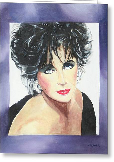 Dame Elizabeth Taylor Greeting Card by Cyndi Brewer