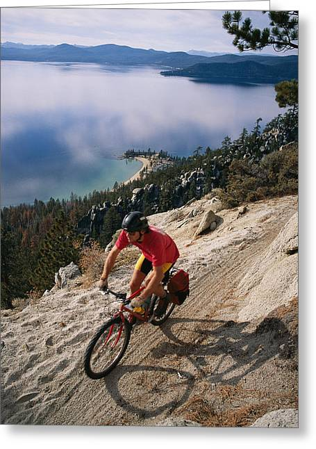 Dan Mccoy Biking The Flume Trail Greeting Card by Rich Reid