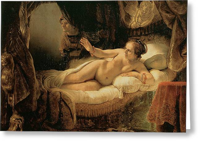Danae Greeting Card by Rembrandt Harmenszoon van Rijn