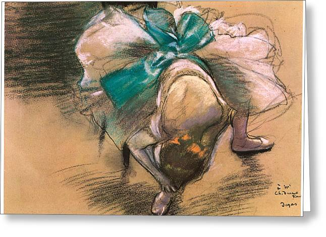 Dancer Tying Her Shoe Ribbons Greeting Card by Edgar Degas