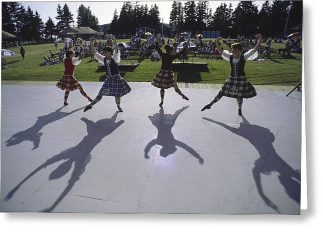 Dancers At A Gaelic Mod Held At Gaelic Greeting Card by Michael Melford