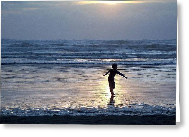 Dancing Boy At Sunset Greeting Card