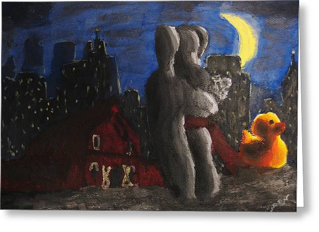 Greeting Card featuring the painting Dancing Figures With Barn Duck And Cityscape Under The Moonlight.  by M Zimmerman