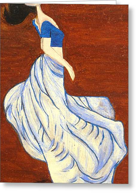 Dancing Girl -acrylic Painting Greeting Card by Rejeena Niaz