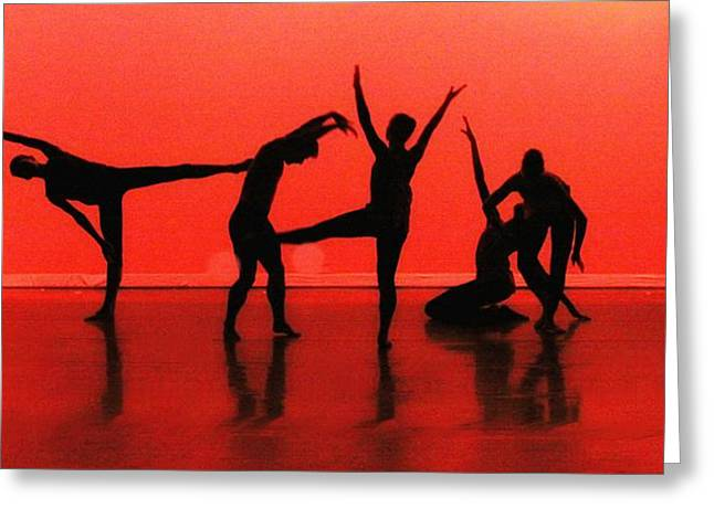 Dancing In Red Greeting Card by Kenneth Mucke