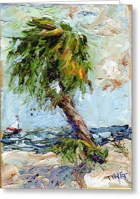 Greeting Card featuring the painting Dancing Palm by Doris Blessington