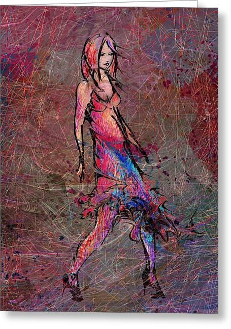 Dancing The Nights Greeting Card by Rachel Christine Nowicki