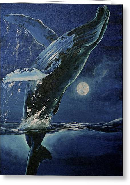 Dancing With The Moon Greeting Card by Marco Antonio Aguilar