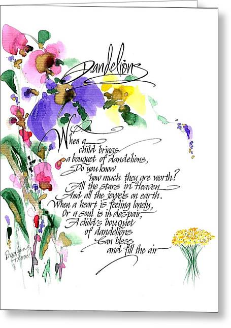 Dandelions Poem And Art Greeting Card