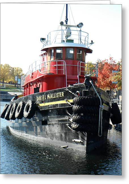 Daniel Mcallister Tug Boat Old Port Montreal Canada Greeting Card by Rosie Brown