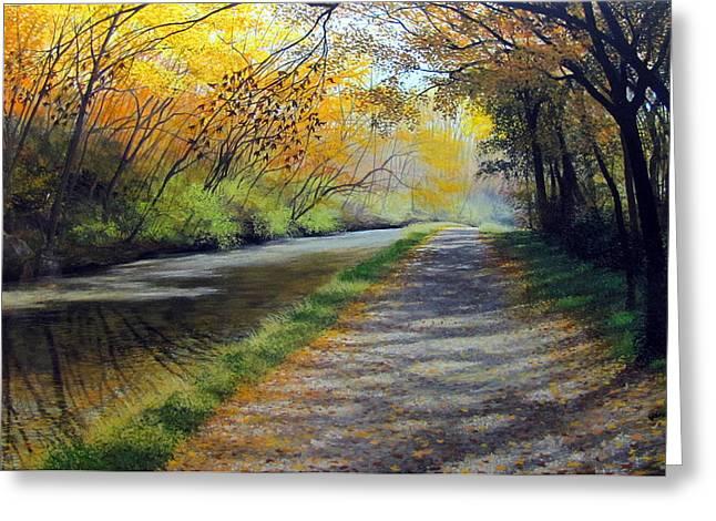 Dappled Autumn Light Greeting Card by David Bottini