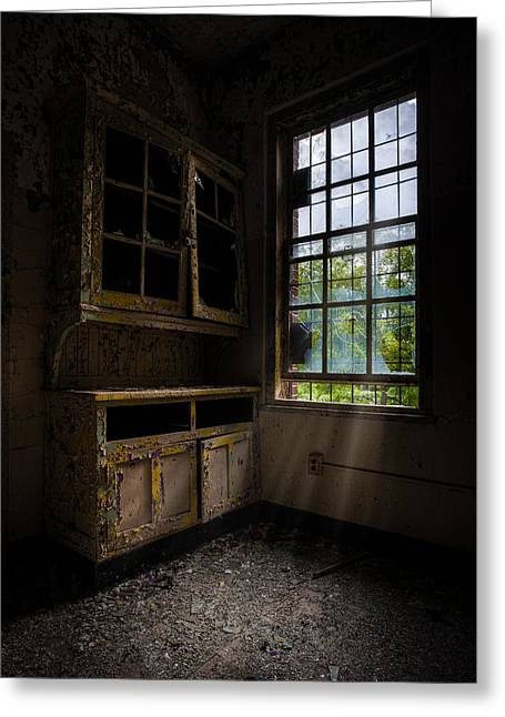 Dark And Empty Cabinets Greeting Card by Gary Heller
