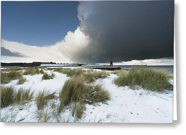 Dark Clouds And Blue Sky Over A Red Greeting Card by John Short