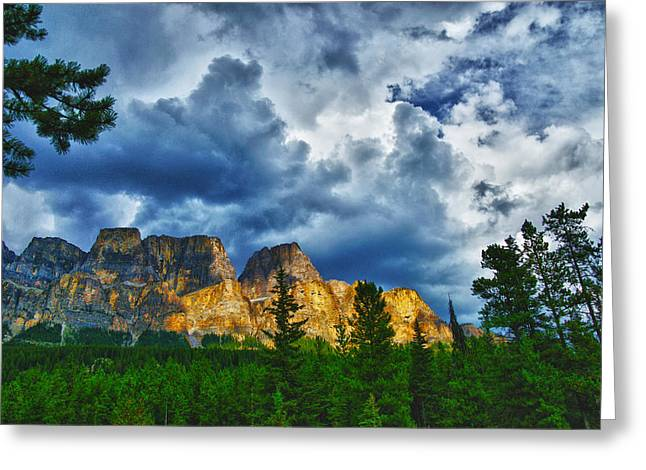 Dark Morning Clouds Greeting Card by Rick Bragan