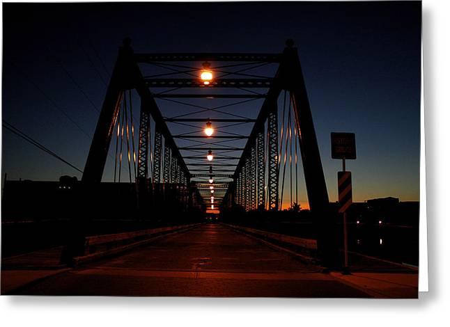 Dark Sixth Street Bridge Greeting Card