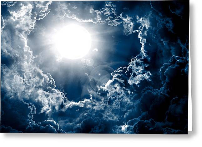 Dark Sky With Sun Greeting Card