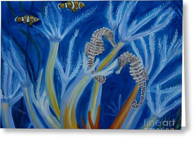 Greeting Card featuring the painting Date Night On The Reef by Julie Brugh Riffey