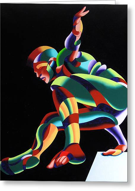 Dave 25-03 - Abstract Geometric Figurative Oil Painting Greeting Card by Mark Webster
