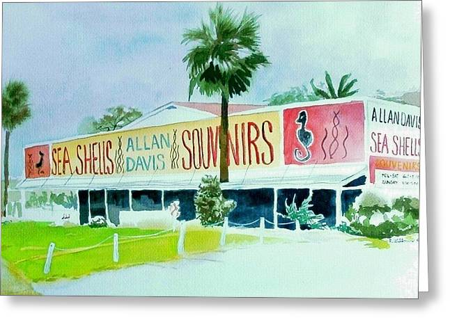 Greeting Card featuring the painting Davis Shell Shop by Richard Willows