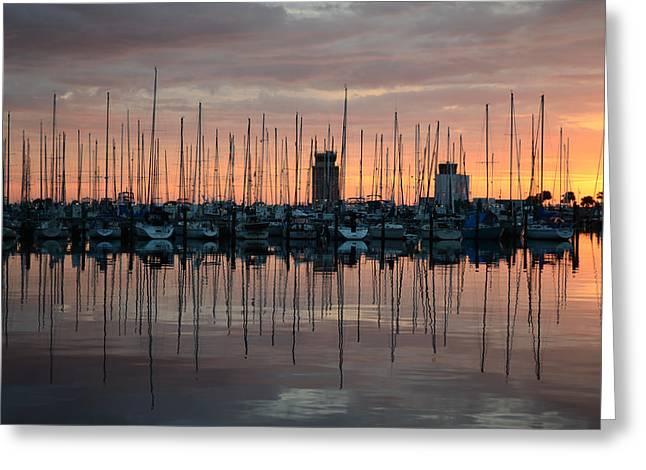 Dawn At The Marina Greeting Card