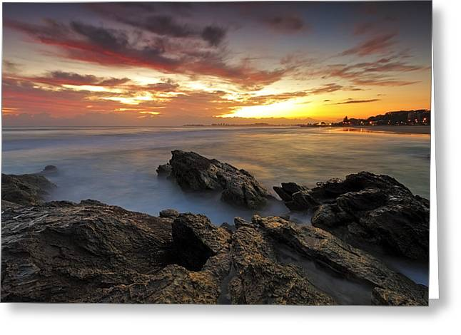 Dawn At The Rocks Greeting Card