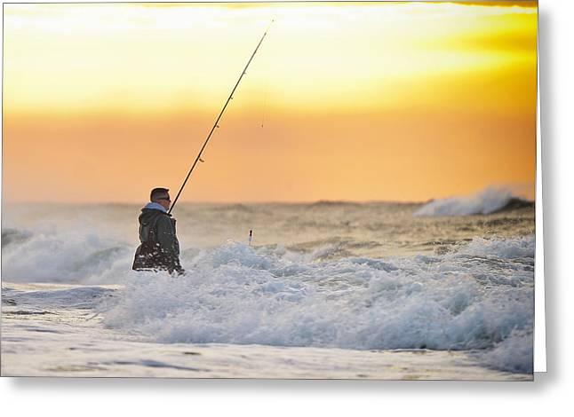 Dawn Fishing Greeting Card by Vicki Jauron