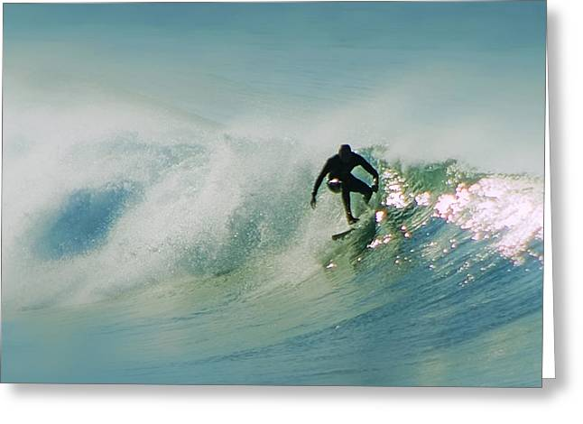 Dawn Surfer Greeting Card by David Rearwin