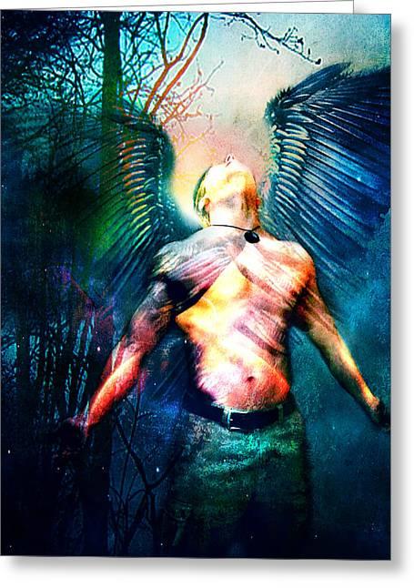 Greeting Card featuring the digital art Dawning Angel by Nada Meeks