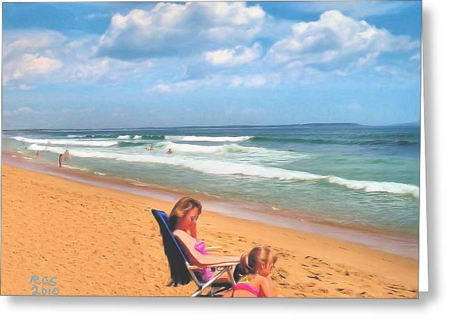 Day At The Beach Greeting Card by Richard Stevens