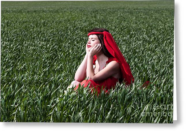 Day Dreams Woman In Red Series Greeting Card by Cindy Singleton