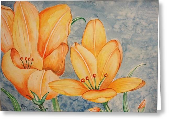 Day Lillies Greeting Card by Subodh Maheshwari