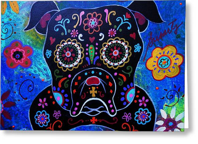 Day Of The Dead Bulldog Greeting Card