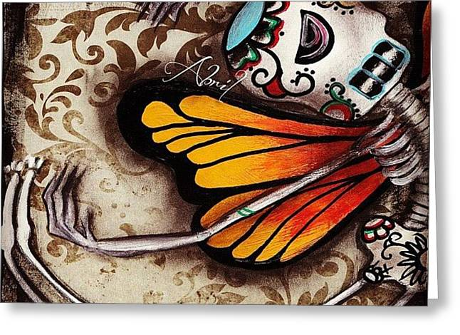 Day Of The Dead Butterfly By Greeting Card by  Abril Andrade Griffith