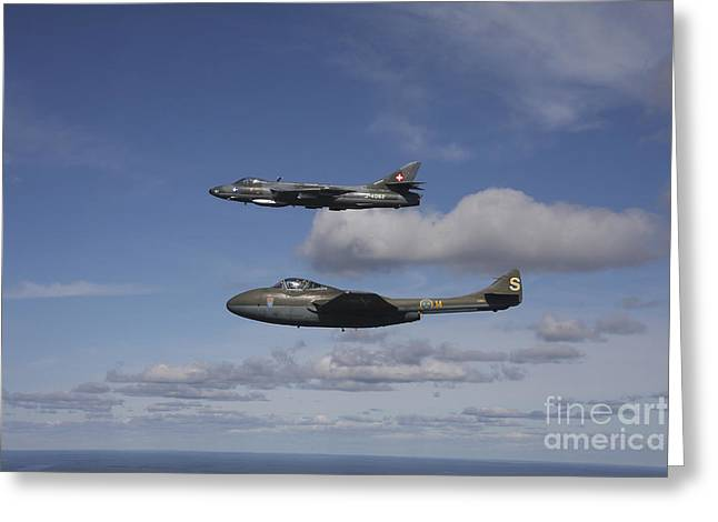 De Havilland Dh 110 Vampire And Hawker Greeting Card by Daniel Karlsson