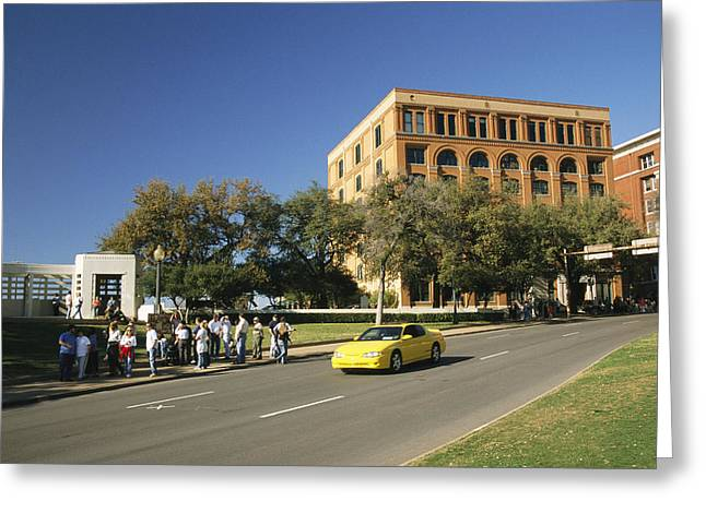 Dealey Plaza, Book Depository And Site Greeting Card by Richard Nowitz