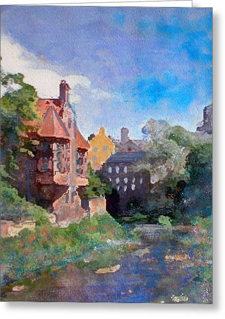 Greeting Card featuring the painting Dean Village Edinburgh by Richard James Digance