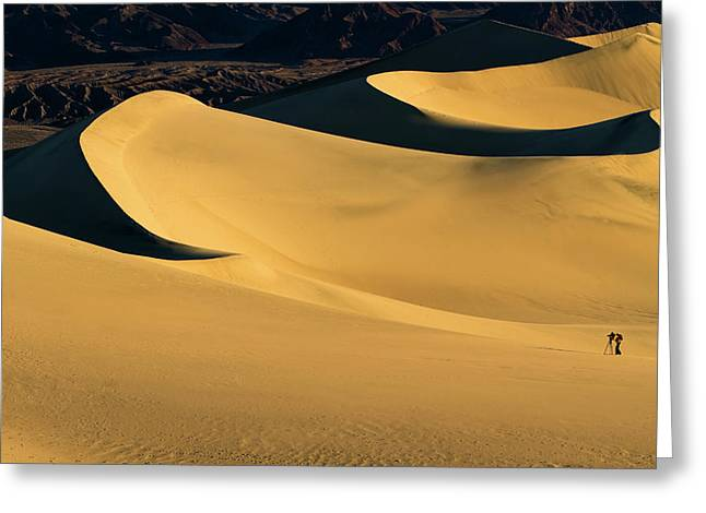Death Valley And Photographer In Morning Sun Greeting Card
