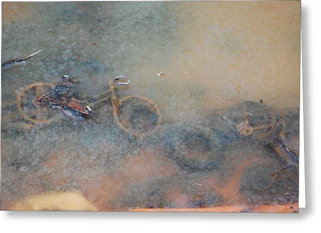 Debris In Canal Bed Greeting Card