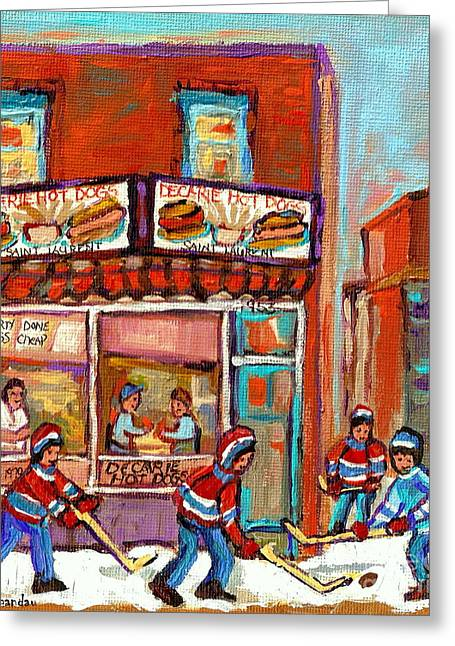 Decarie Hot Dog Montreal Restaurant Paintings Ville St Laurent Streets Of Montreal Paintings Greeting Card by Carole Spandau
