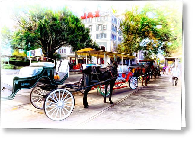 Decatur Street At Jackson Square Greeting Card by Bill Cannon
