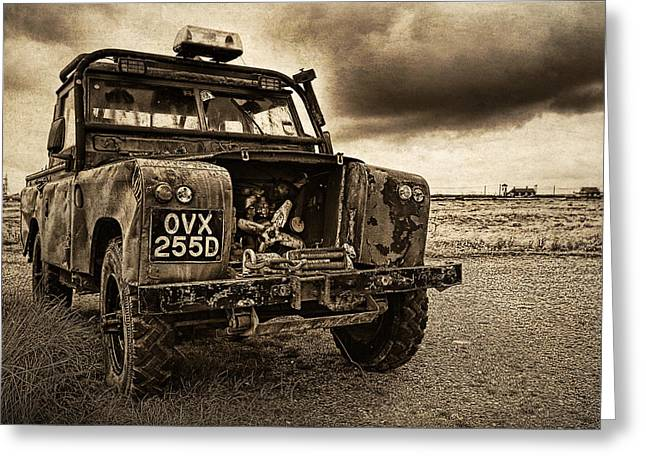 Decaying Landrover At Dungeness Greeting Card by David Turner