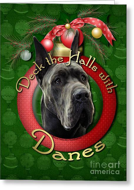 Deck The Halls With Danes Greeting Card by Renae Laughner
