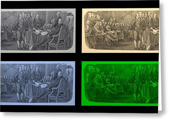 Declaration Of Independence In Quad Colors Greeting Card by Rob Hans