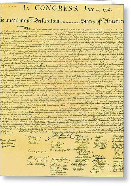 Declaration Of Independence Greeting Card by Photo Researchers