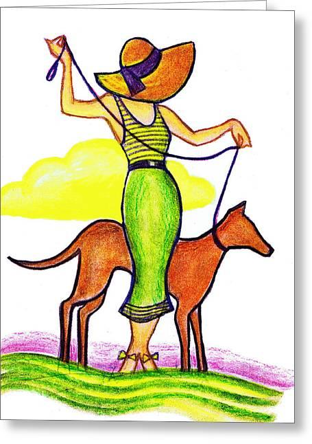 Deco Dog Walker Greeting Card by Mel Thompson