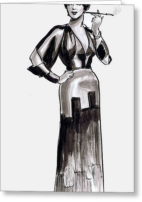 Deco Gown Greeting Card by Mel Thompson
