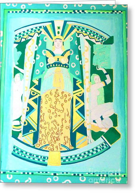 Greeting Card featuring the painting Deco Green by Beth Saffer